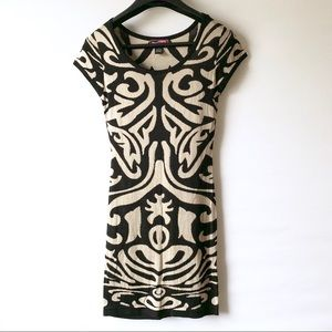 Say What? Dresses - Say what | Tan & Black Aztec Sweater Dress (A100)